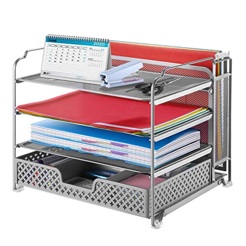Simple Trending 4-Trays Mesh Office Supplies Desk Organizer, Desktop Hanging File Holder with Plastic Drawer Organizer and Vertical Upright Section for Office Home, Silver
