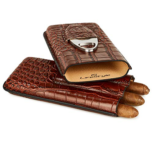 LS Lifestyle Leather Cigar Case – 3 Tube Travel Humidor with Stainless Steel Cutter (Brown Leather)