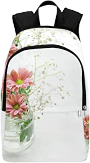 WUTMVING Pink Flowers Bowl Vase Blossom Green Plant Casual Daypack Travel Bag College School Backpack For Mens And Women