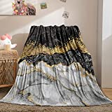 Bedbay Black Marble Blanket Black Gold Throw Blanket Black Grey Gold Marble Texture Flannel Fleece Blanket Soft Lightweight Plush Blanket for Bed Couch Chair Floor(Grey Gold, Twin(60'x80'))