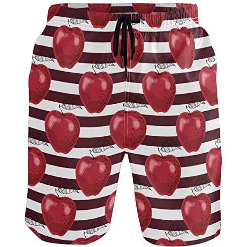 Sdmnsg_T Hombre Shorts de Playa Traje de baño Red Apple Style Casual Bañador