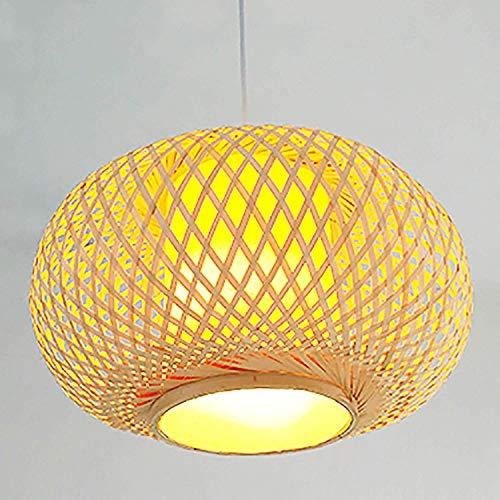 LLLKKK Candelabro de araña LED de techo hecho a mano de ratán, colgante o mesa Shade, forma ovalada, color madera natural, tamaño (40 x 25 cm)