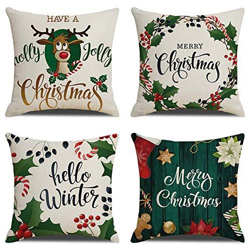Kqpoinw Funda Cojines, 4 Piezas Lino Throw Pillow Case Cojines Sofas Alces de Navidad Cojines Decoracion para Sofá Cama Decoración para Hogar Fundas Cojines 45x45 cm