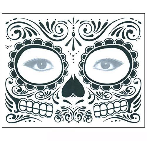 Tag der Toten Maske aus Mexiko - schwarz, einfach auftragbar und zu entfernen, 1 Tages Anwendung für Halloween, Fasching oder Kostüm Party im Karneval (BLACK)