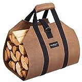 Amagabeli 99x45,7cm Toile Sac à bûche Cheminée Sac de chauffage Imperméable Transporteur de bois extérieur rangement pour le bois de avec anti-dérapantes Solide poignées Sangles Porte-bûches marron