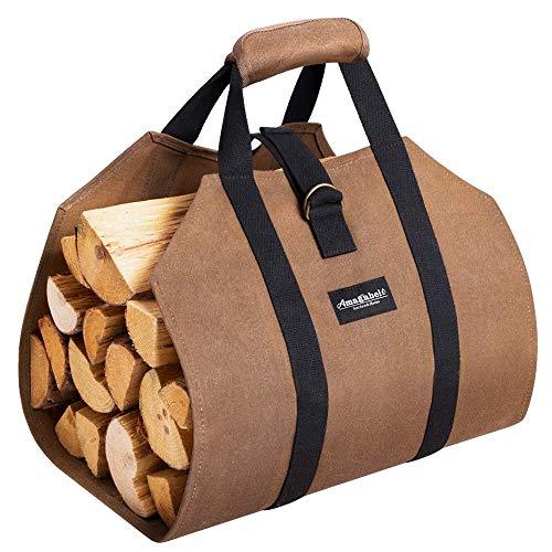 Sac de transport bois robuste,Sac de rangement pour bois chauffage en toile lest/ée Durable Sac b/ûches Chemin/ée Sac bois de chauffage Paniers bois Porte b/ûches pour foyer