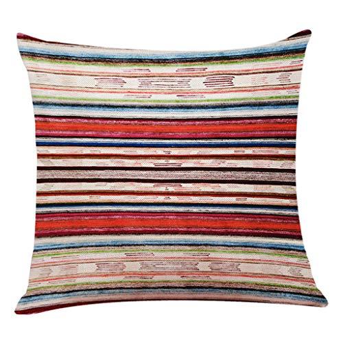 VRTUR Funda de Almohada Decorativa para el hogar de Lino de algodón Sofá Cintura Cojín (45x45cm,X-Multicolour-E)