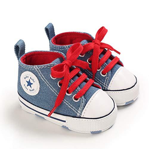 DEBAIJIA Bebé Primeros Pasos Zapatos de Lona0-18M NiñosAlpargata Suave Antideslizante Ligero Slip-on