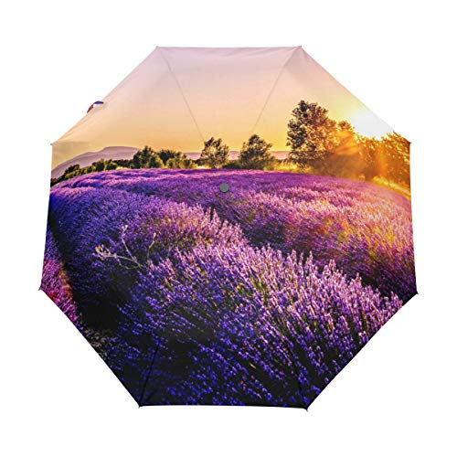 Purple Lavender Ocean Rain Umbrella Windproof for Women Men Kids,3 Folded Umbrella Compact Umbrella Can Auto Open and Close