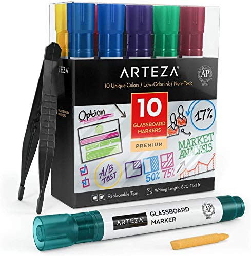 Arteza Dry Erase Markers for Glass Boards Pack of 10 Unique Colors with Low-Odor Ink, Erasable Window Markers for Glass, Mirrors, Whiteboards and Non-Porous Surfaces