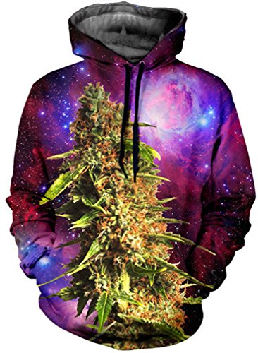 Imbry Herren Slim Fit Hoodie Long Sleeve Kapuzenpullover 3D Druck Muster Sweatshirt Pullover (2XL/3XL, Marihuana)