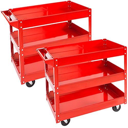 TecTake Werkstattwagen Werkzeugwagen Rollwagen - diverse Modelle - (2er Set 3 Etagen | Nr. 402422)
