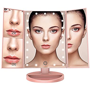 BESTOPE Makeup Vanity Mirror with 3x/2x Magnification,Trifold Mirror with 21 Led Lights,Touch Screen, 180° Adjustable Rotation,Dual Power Supply, Countertop Cosmetic Mirror (Rose Gold)
