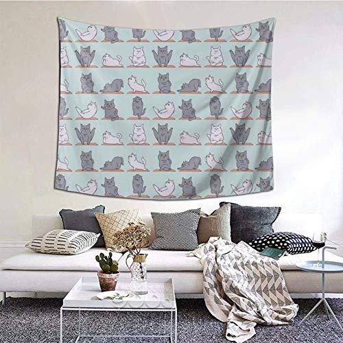 Tapiz para colgar en la pared, diseño de gato británico de pelo corto, 156 x 150 cm, estilo bohemio, para colgar en el dormitorio, sala de estar, decoración del hogar