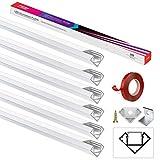 Perfil LED, perfil de aluminio LED, 6 x 1 m, canal de luz LED de 45, riel de LED con adhesivo 3M, tapa en blanco lechoso, tapas de extremos, clips de fijación de metal, para tiras LED (1-12,5 mm) PEBA
