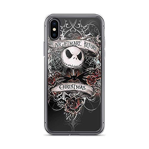 Compatible with iPhone 6 Plus/6s Plus Case Nightmare Before Christmas Movie Smoking Skeleton Pure Clear Phone Cases Cover