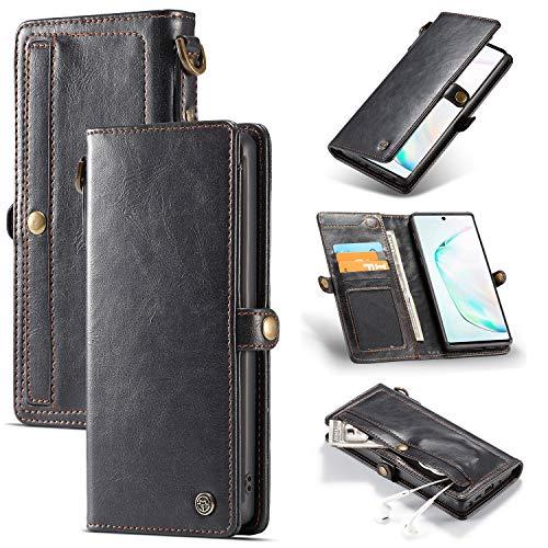 JOMA-E Shop Caseme Galaxy Note10 Plus, funda de piel tipo cartera con 3 ranuras para tarjetas y cierre magnético, funda protectora extraíble para Samsung Galaxy Note 10 Plus, color negro
