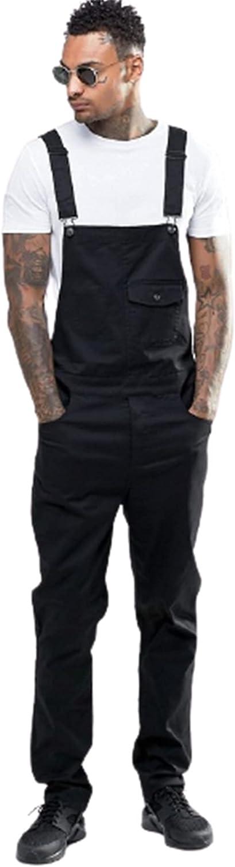 Men's Denim Bib Overalls,Pure Color Simple Slim Trousers Jumpsuits,Slim Fit Jumpsuit with Pockets