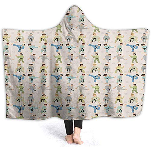 ZAlay Mit Kapuze Decke für Erwachsene Cartoon Karate Layer Warm Plüsch Super Soft TV Wearable Cloak Throw Blanket