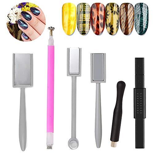 6 Stück Nail Art Werkzeug Magnetstift, Doppelkopf Blumendesign Nagel Magnet Stift und Starke Magnetstift Punktierungsstifte, Ideal für DIY 3D Magnetisches Katzenauge UV Gel Polnisch Nagel Kunst