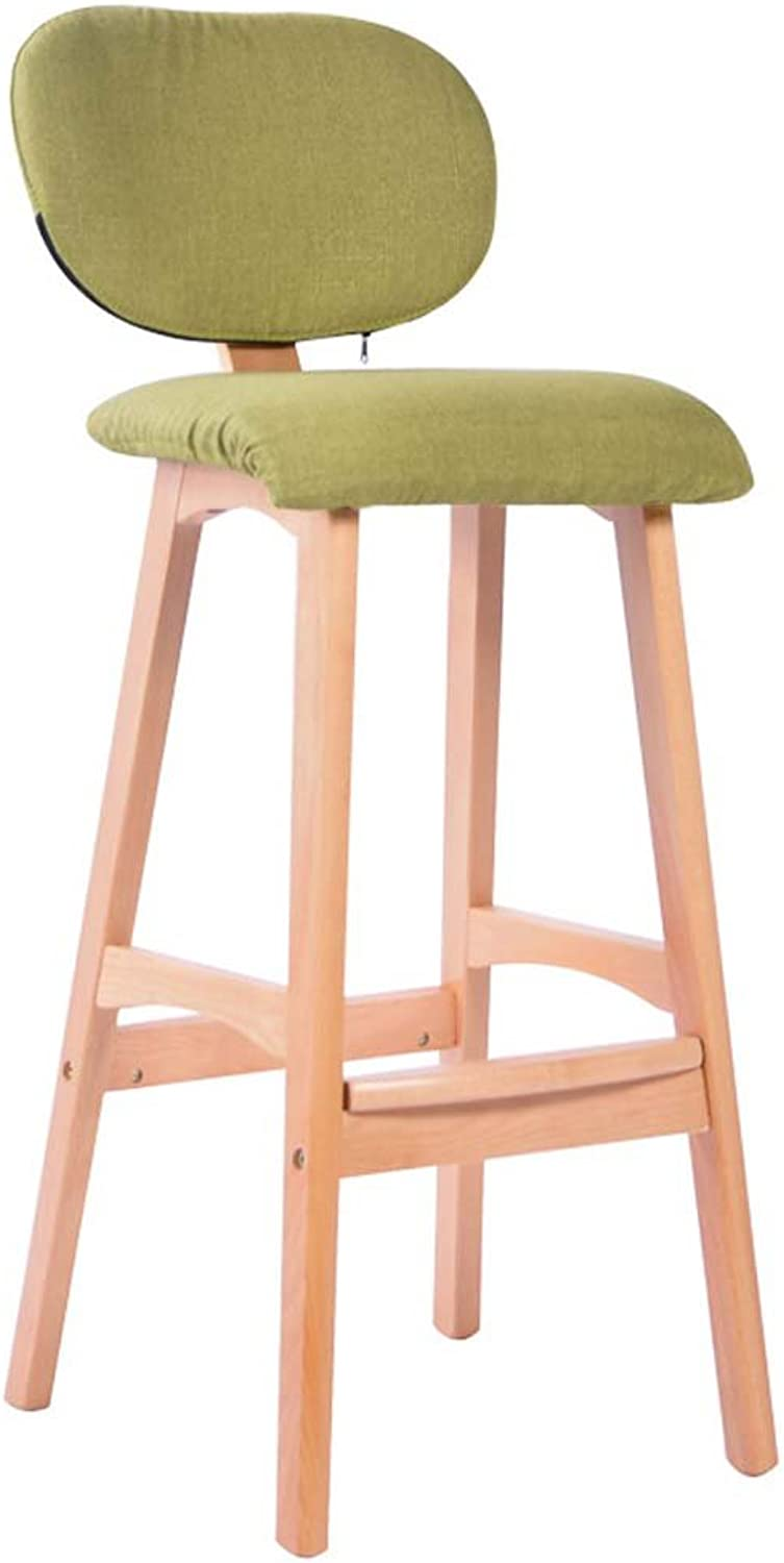 WFFXLL American Bar Stools Solid Wood High Stools Simple Bar Stools Home Bar Stool Bar Stool (color   Green)