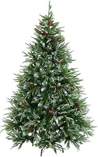 GOHHK Árbol de Navidad nevado Artificial Verde de 7 pies (210 cm) Decorado con Bayas Rojas y piñas, 1356 Puntas de Rama, Base de Metal Plegable