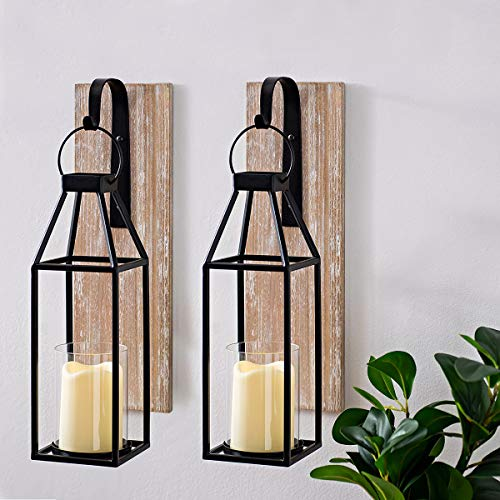 S.H. Set of 2 Rustic Wood and Metal Hanging Lantern Sconce Glass Candle Holders Outdoor Indoor Hanging Wooden Metal Candle Lanterns Wall Home Decor (2)