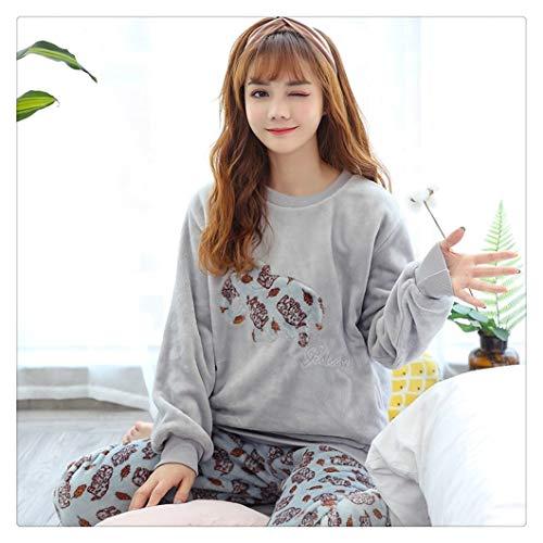 Conjunto de pijama para mujer de invierno cálido con diseño de flores de dibujos animados de manga larga, ropa de dormir informal para el hogar, pijamas femeninos (color: elefante, tamaño: M)