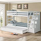 Harper & Bright Designs Twin-Over-Twin Trundle Bunk Bed with Storage Drawers (White)