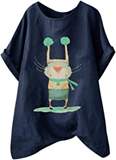 TINGZI Women Tees Casual Loose Cotton And Linen Character O-Neck Short Sleeve Shirt Blouse Loose Flowy Comfy Tunic