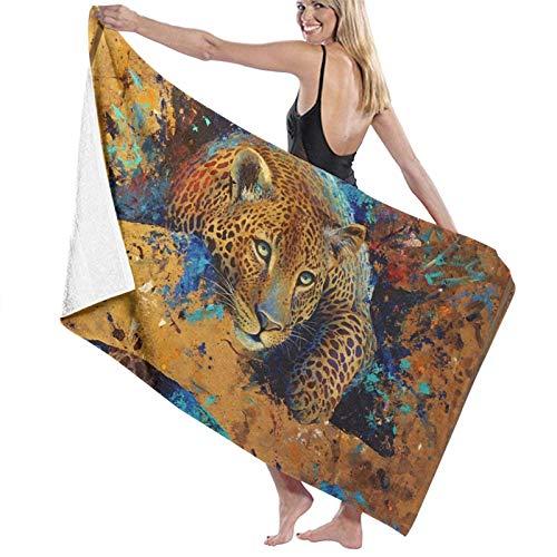 LREFON Toallas de baño de Leopardo Big Cat Toalla de Ducha de Secado rápido de Moda Toalla de natación de Playa Suave con Personalidad (31.5X51.2 Pulgadas)