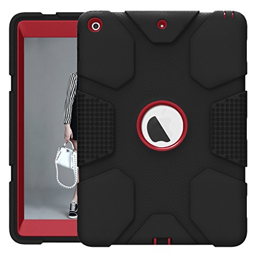 iPad 9.7 2017 2018 Case, ZHK Rugged Heavy Duty Shockproof Hybrid Hard PC Bumper Silicone Dual Layer Protective Case with Kickstand for iPad 5th 6th Generation - Black and Red