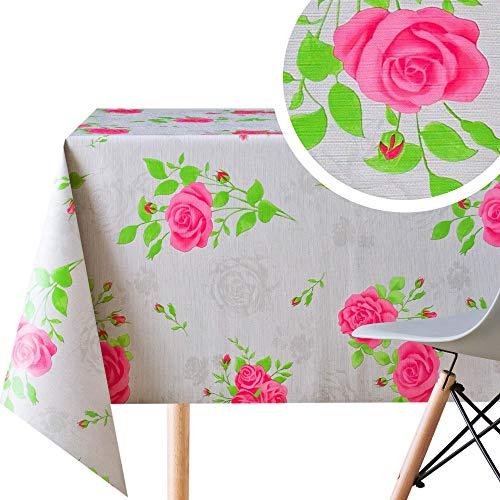 Mantel de hule de PVC gris con rosas inglesas rosas – rectangular de 200 x 140 cm, hojas de jardín de flores gruesas, de vinilo, lavable, diseño Shabby Chic