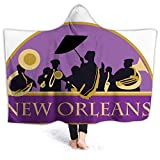 2021 Fashion Soft Hooded Blanket,French Quarter Band with Jazz Trumpet Saxophone and Brass for Adult Wearable Beach Towel with Hood Microfiber (31.8x51.5 inch)