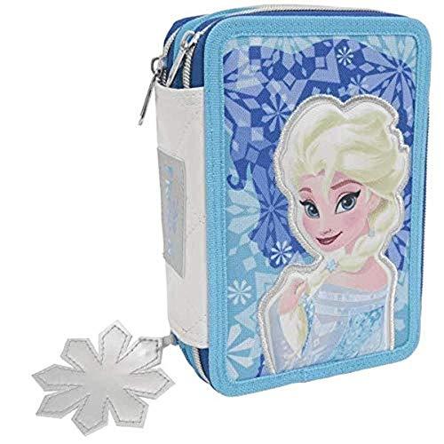 Estuche Deluxe escolar completo de 3 pisos Frozen Elsa + llavero girabrilla