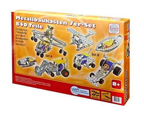 TRONICO 39231 Set Fahrzeuge 8-in-1, 7-in-1 Metallbaukasten 840 Teile