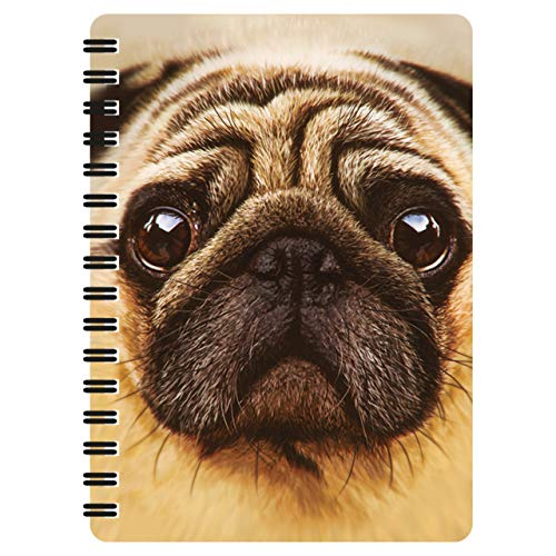 3D LiveLife Jotter - Pug from Deluxebase. Lenticular 3D Dog 6x4 Spiral Notebook with plain recycled paper pages. Artwork licensed from renowned artist David Penfound