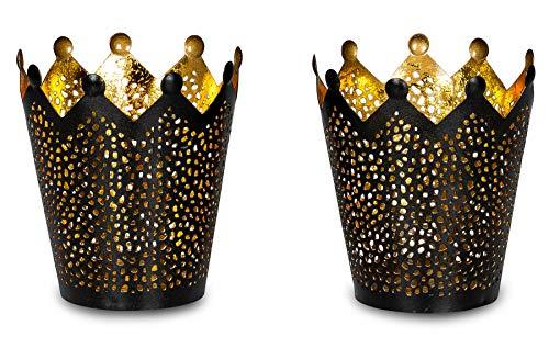 levandeo 2er Set Teelichthalter Krone Schwarz Gold H11cm Metall Windlicht Kerzenhalter Krone Tischdeko