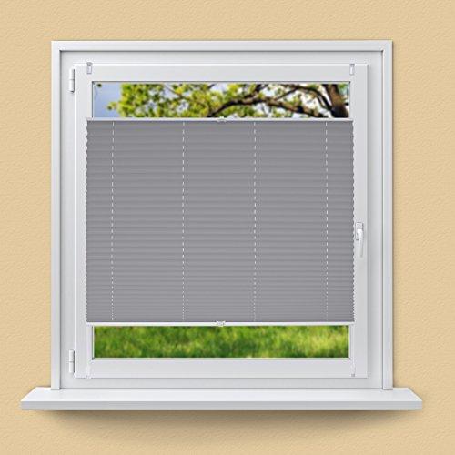 ECD Germany Plissee 55 x 200 cm - Grau- Klemmfix - EasyFix - ohne Bohren - für Sonnen- und Sichtschutz - Fenster und Tür - inkl. Befestigungsmaterial - Jalousie Faltrollo Fensterrollo Rollo