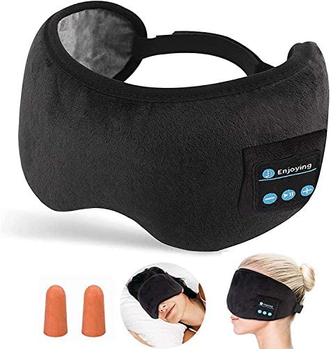 Beqreuu Bluetooth Sleep Mask Eye Mask with Headphones Wireless Bluetooth 5 0 for Man Soft and product image