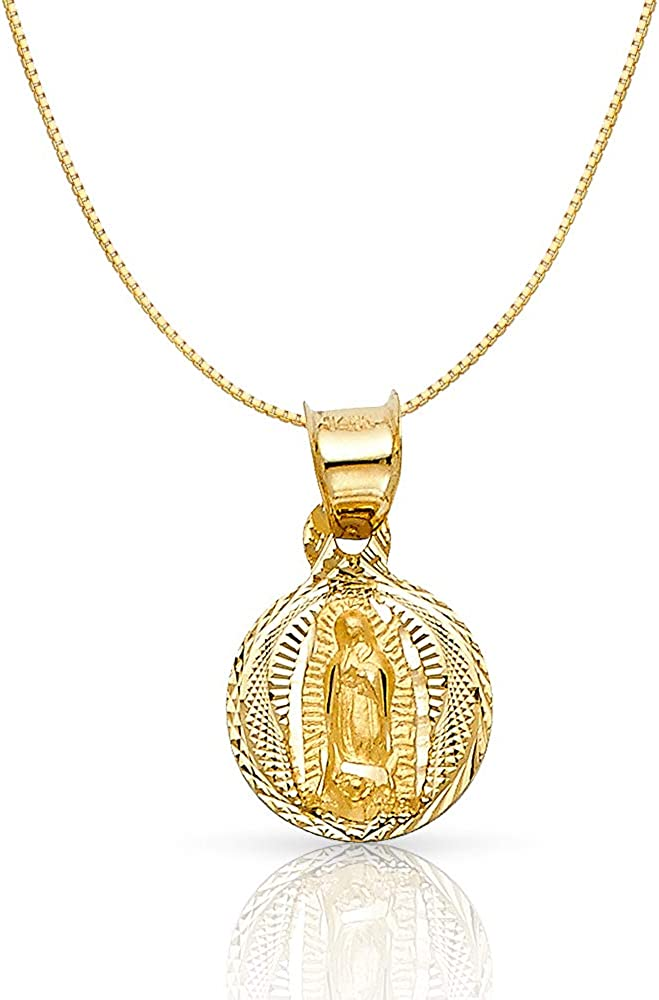 14K Yellow Gold Diamond Cut Our Guadalupe Stamp of 2021 autumn and winter new Lady Mail order cheap Religiou