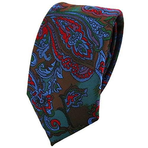 TigerTie - corbata estrecha - rojo azul lila verde multicolor Paisley modelada