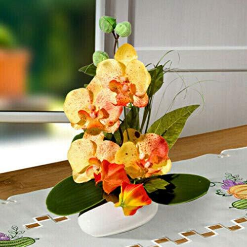 Holzdrehteile Blumengesteck Orchidee Dekoration Tischdeko Fensterdeko Gesteck Kunstblumen blau 30 cm