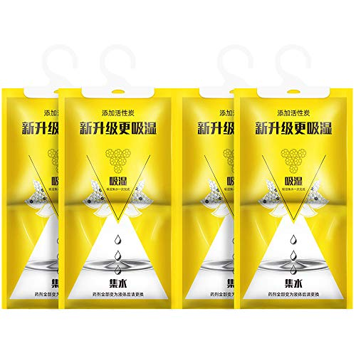 Amabest 4 Pack Hanging Dehumidifier Bag Air Purifier Moisture Absorber Packets for Bathroom Closet Bedroom Basements Home Laundry Room