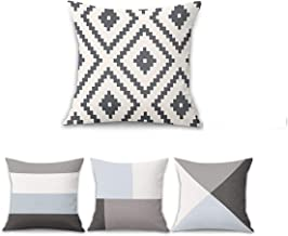 T&Q Set of 4 Modern Geometric Pattern Throw Pillow Covers - 45 x 45cm Decorative Linen Cushion Case for Home Decor Couch B...