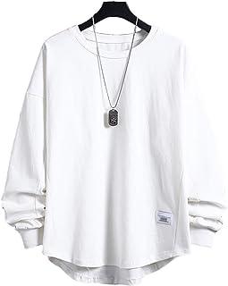 Tシャツ 長袖 メンズ ゆったり カジュアル 丸襟 快適 綿 柔らかい おおきいサイズ 春秋服