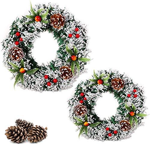 Binjor 2Pcs Ghirlanda Di Natalizie 30cm Fiori artificiale Ghirlanda di vacanze Pendenti gioiosi Natalizi per Decorazioni Porta Caminetto Natale Casa