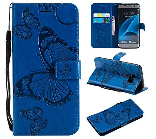 WindTeco Funda para Samsung Galaxy S7 Edge, Mariposa Patrón Carcasa Libro con Correa de Mano Cubierta de Billetera Silicona Case Protectora Soporte y Ranuras para Tarjetas Edge, Azul