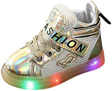 LHWY Zapatos de Deporte Ligero con Luces para Niños Niñas Bebé Unisex Antideslizante Transpirable Impermeable Deportivo Zapatillas Botas Botitas Patucos Calentito Invierno Oro 26