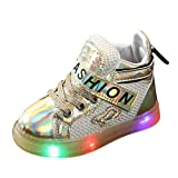 Giulot Toddler Kids LED Light Up Shoes Toddler Boys Girls High Top Luminous Sports Trainers Casual Boots Gold